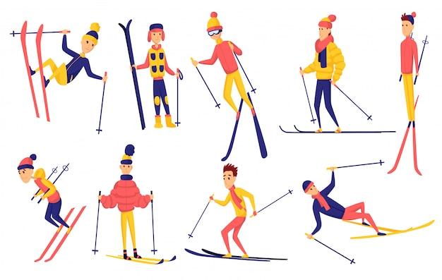 Satz von skifahrern. wintersportler in verschiedenen posen am skigebiet. männer im skigebiet. wintersportaktivität. designelemente für männliche skifahrer. skifahrer springen, stehen, fallen, reiten