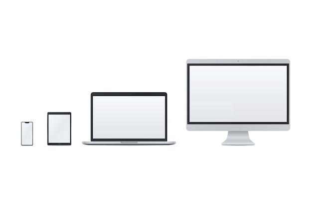 Satz von smartphone, tabletpc, laptop, desktop-pc