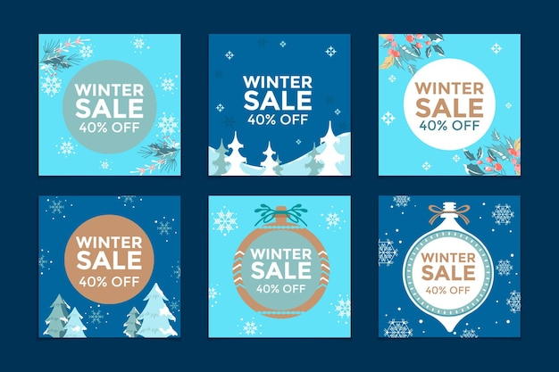 Satz von social media post winter sale