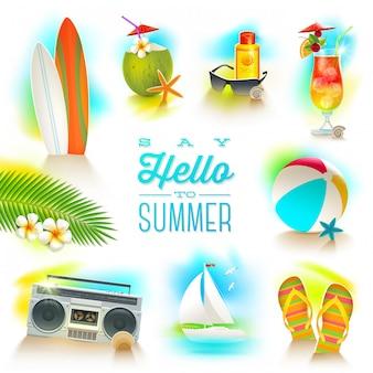 Satz von sommer- und strandurlaubselementen