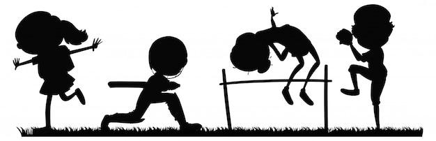 Satz von sportler-silhouette