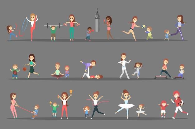 Satz von sportlern mit ihren kindern. eltern