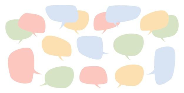Satz von sprechblasen für text-chatboxen-blasen für nachrichten isolierte flache linie symbolvektor