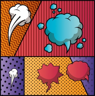 Satz von sprechblasen und ausdrücken pop-art-hintergrund