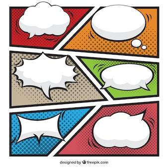 Satz von sprechblasen und farbigen vignetten