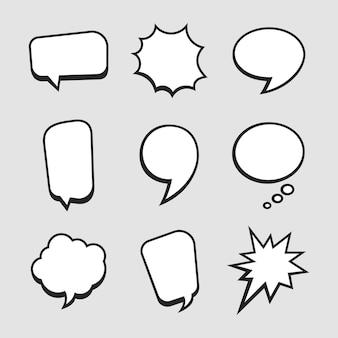 Satz von sprechblasenvorlagen für comics