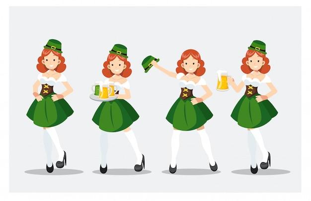 Satz von st patrick tagesmädchen im grünen kostüm