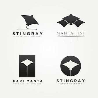 Satz von stachelrochen manta fisch symbol logo vorlage vektor illustration design
