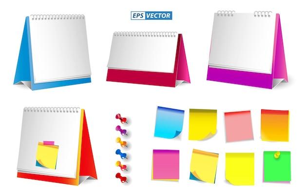 Satz von stehenden papier-schreibtischkalendern oder realistischen leeren spiraltabellen-kalenderkonzept-eps-vektor