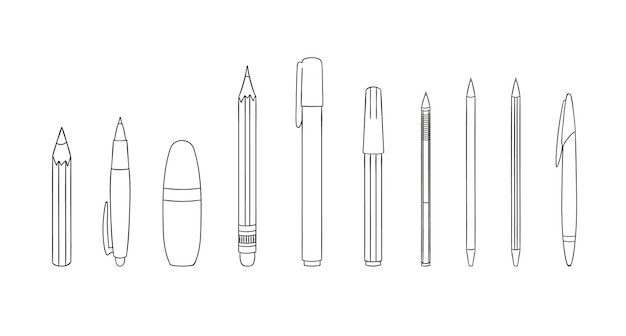 Satz von stift- und bleistiftliniensymbolen. vector farbiges briefpapier, schreibmaterialien, büro- oder schulbedarf lokalisiert auf weißem hintergrund. cartoon-stil