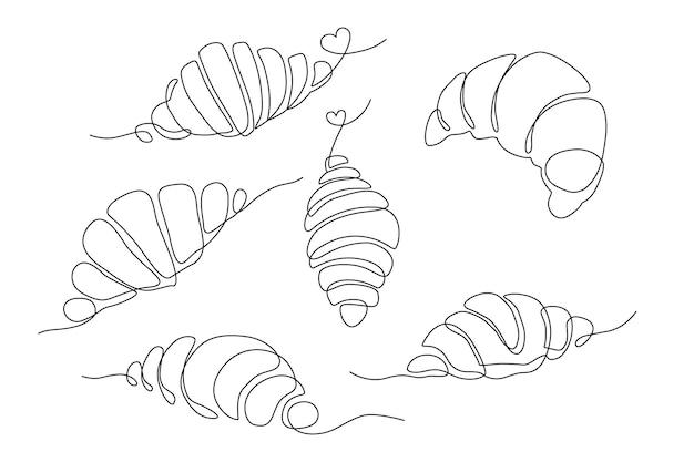 Satz von strichzeichnungen croissant, einfache zeichnung mit süßem herzen