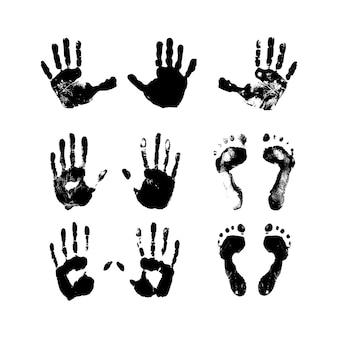 Satz von strukturierten und grunge-handabdrücken und fußabdrücken