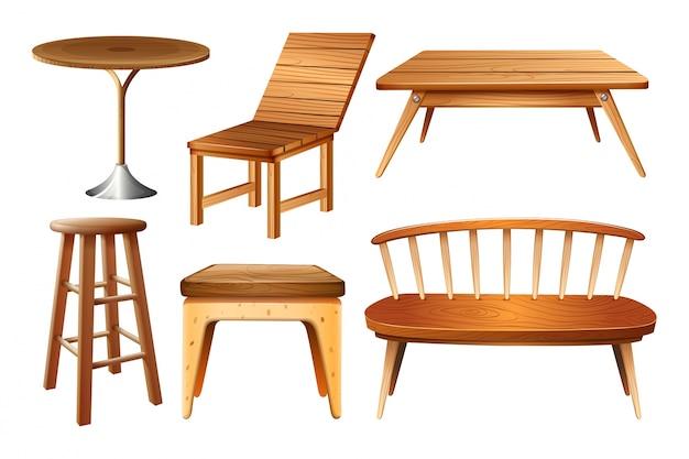 Satz von stühlen und tischen