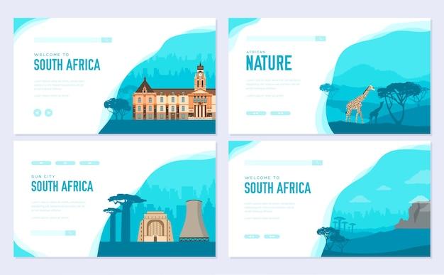 Satz von südafrika-landverzierungsreise. kunst traditionell, zeitschrift, buch, plakat, zusammenfassung.