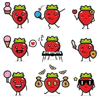 Satz von süßen erdbeeren
