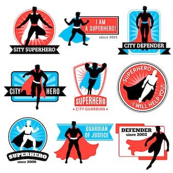 Satz von superheld-emblemen und aufklebern