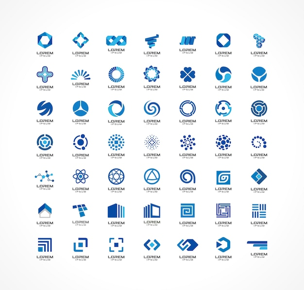 Satz von symbolelementen. abstrakte ideen für unternehmen. finanz-, kommunikations-, öko-, technologie-, wissenschafts- und medizinische konzepte. piktogramme für corporate identity-vorlage.