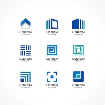 Satz von symbolelementen. abstrakte logo-ideen für unternehmen. gebäude, konstruktion, haus, verbindung, technologiekonzepte. piktogramme für corporate identity-vorlage. illustratio.