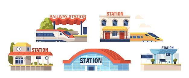 Satz von symbolen bahnhöfe moderne gebäudefassadengestaltung mit elektrozug, plattform mit digitaler fahrplananzeige und hängender uhr, isoliert auf weißem hintergrund. cartoon-vektor-illustration