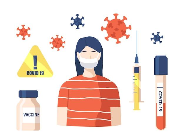 Satz von symbolen covid-thema. covid19-warnschild, impfstoffflasche, spritze mit heilmittel und reagenzglas mit blutprobe