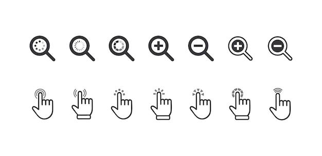 Satz von symbolen cursor-zeiger, klick-finger- und lupen-zoom-symbole. grafische elemente für die website-navigation, zeigen piktogramme informationssuche isoliert auf weißem hintergrund. vektorillustration