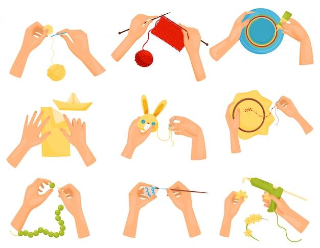 Satz von symbolen, die verschiedene hobbys zeigen. hände, die handgemachtes handwerk machen. stricken, dekorieren, malen, nähen