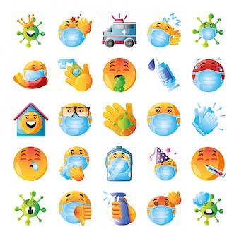 Satz von symbolen emojis des coronavirus