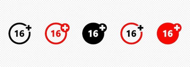 Satz von symbolen für die altersbeschränkung. 16 altersgrenze konzept. inhaltssymbol für erwachsene. vektor auf isoliertem transparentem hintergrund. eps 10