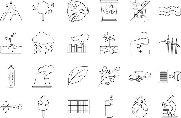 Satz von symbolen für klima- und ökologieeinsparung.