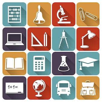 Satz von symbolen für schule und bildung. sammlung flacher gestaltungselemente. vektor-illustration.