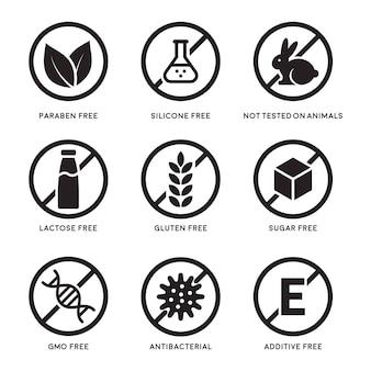 Satz von symbolen glutenfrei, laktosefrei, gvo-frei, paraben, lebensmittelzusatzstoff, zuckerfrei, nicht an tieren getestet, antibakteriell, silikonvektorsymbole