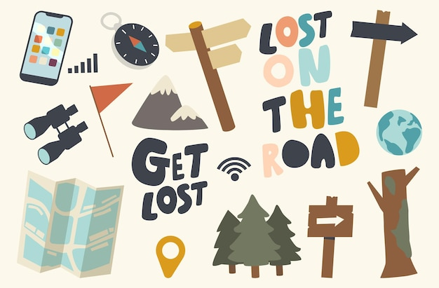 Satz von symbolen im wald- oder straßenthema verloren. zeiger, kompass und fernglas, bäume, rote flagge und karte für die suche nach dem richtigen weg