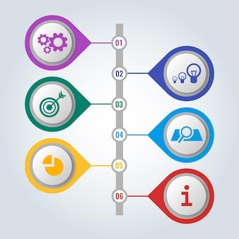 Satz von symbolen in bunten knöpfen mit schema und arbeitsschritten, infografik-konzept. mechanische getriebe, elektrische lampen, pfeil im ziel und infochart-vektorillustration