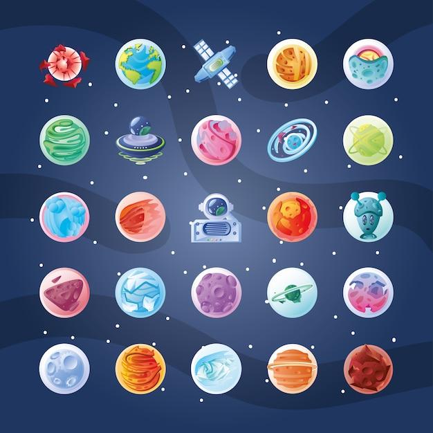 Satz von symbolen mit planeten- oder asteroidenillustrationsdesign