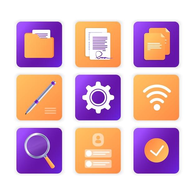 Satz von symbolen schaltflächen dokumente büro vektor-illustration website-vorlage oder webseiten-layout der arbeitsprozess
