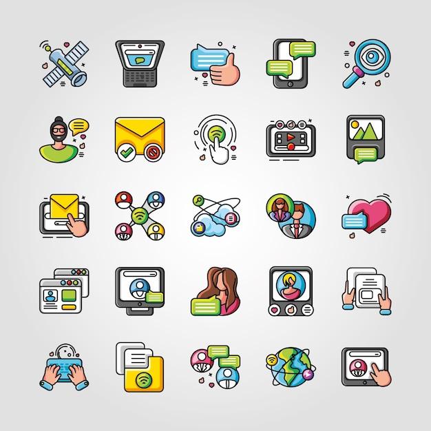 Satz von symbolen soziales netzwerk oder soziale medien auf weißem illustrationsdesign