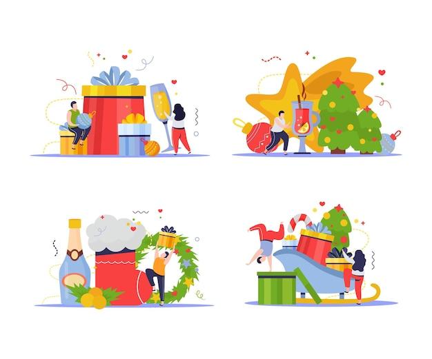 Satz von szenen mit menschen mit weihnachtselementen