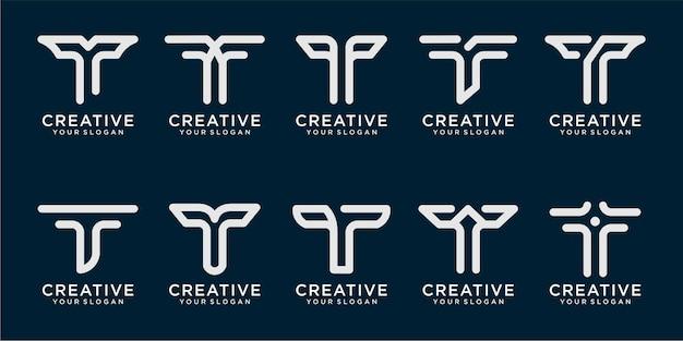 Satz von t-logo- und visitenkartendesigns im einfachen linienstil premium-vektor