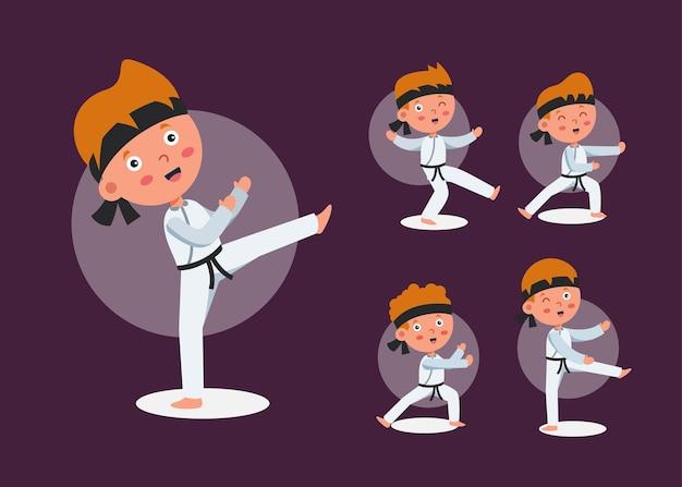 Satz von taekwondo-athletenmann in den verschiedenen aktionen der karikaturfigur, isolierte illustration