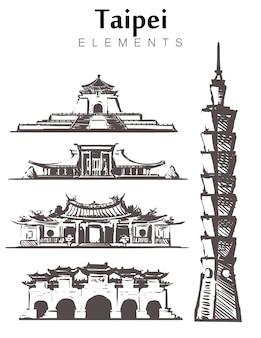 Satz von taipei gebäuden isoliert auf weiß