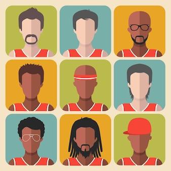 Satz von team-basketballspieler-app-symbolen im trendigen flachen stil.