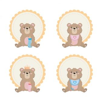 Satz von teddybär mit etikett und dekoration