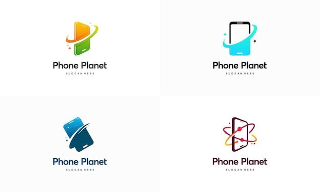 Satz von telefonplaneten-logoentwürfen
