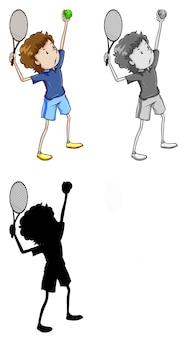 Satz von tennisspieler