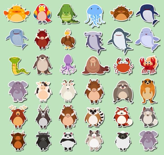 Satz von tieren aufkleber