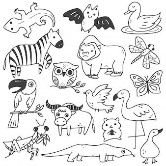 Satz von tieren gekritzel