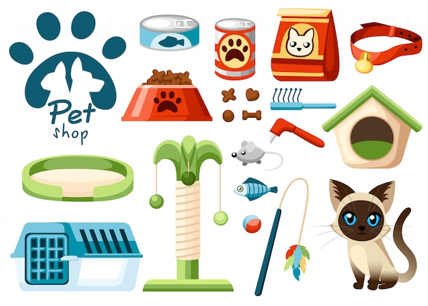 Satz von tierhandlungikonen. zubehör für katzen. illustration. futter, spielzeug, schüssel, kragen. produkte für die tierhandlung. vektorillustration auf weißem hintergrund