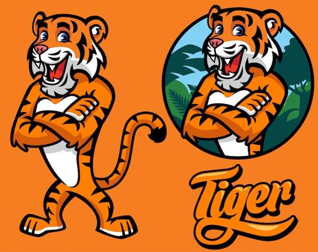 Satz von tiger zeichentrickfigur
