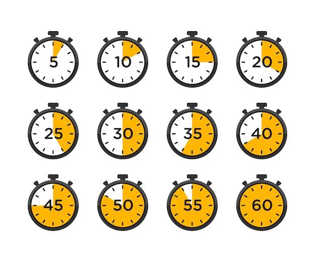 Satz von timer- und stoppuhrsymbolen.