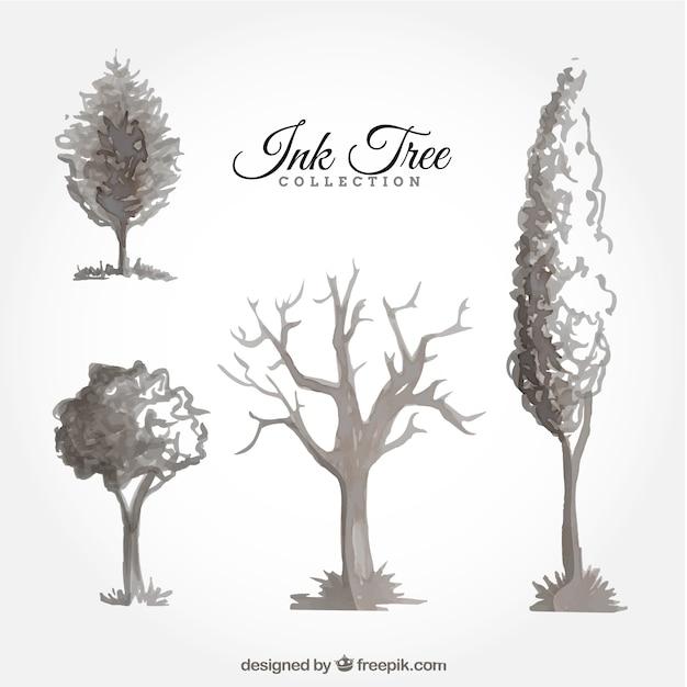 Satz von tinten bäume